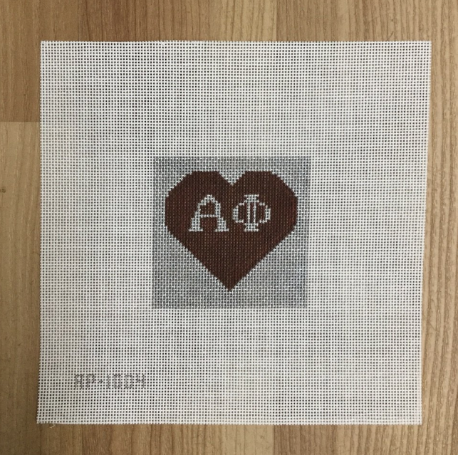 "Alpha Phi 3"" Square Canvas-Needlepoint Canvas-KC Needlepoint"