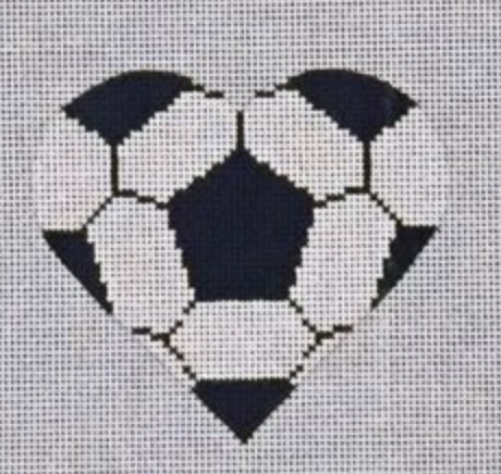 Soccer Ball Heart Canvas - needlepoint