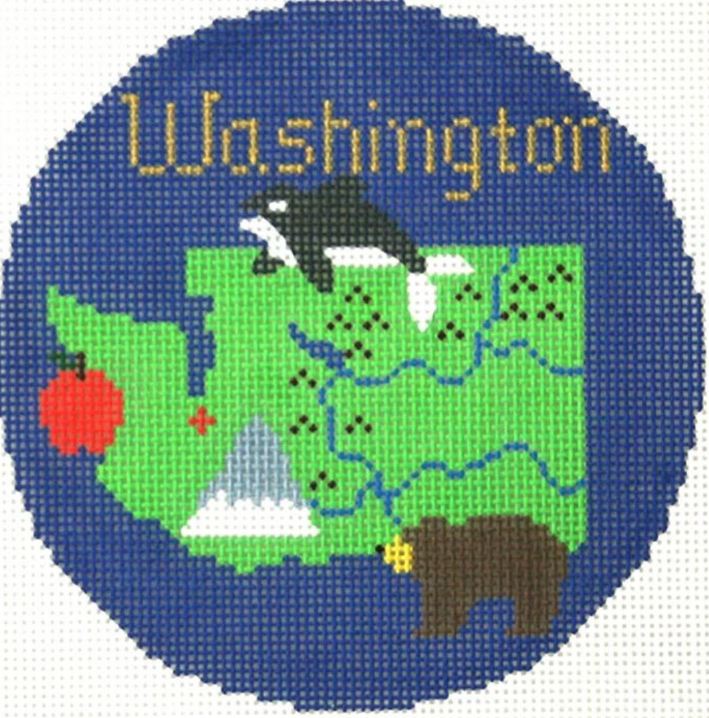 "Washington 4 1/4"" Travel Round Needlepoint Canvas"
