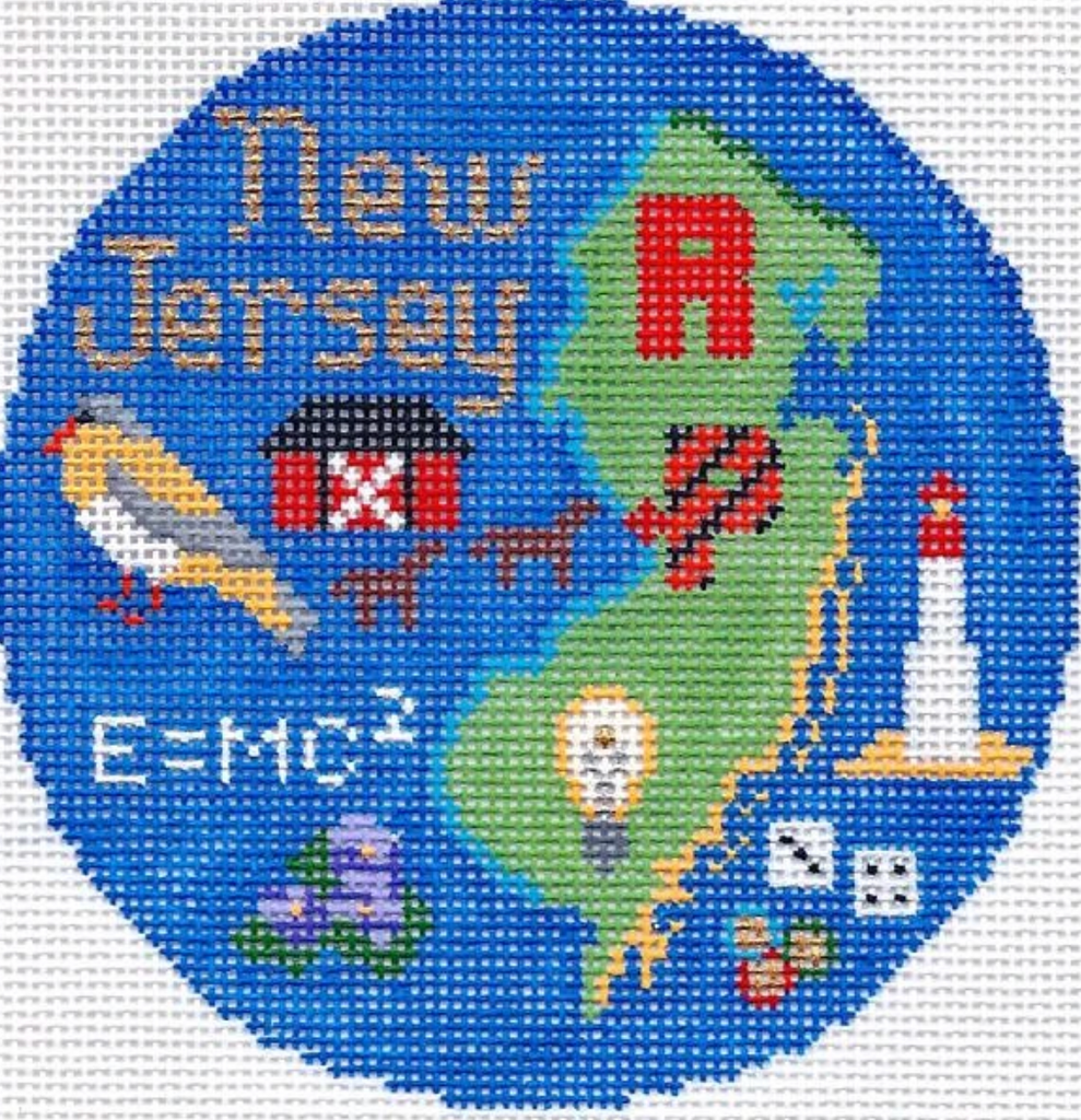 "New Jersey 4 1/4"" Travel Round Needlepoint Canvas"