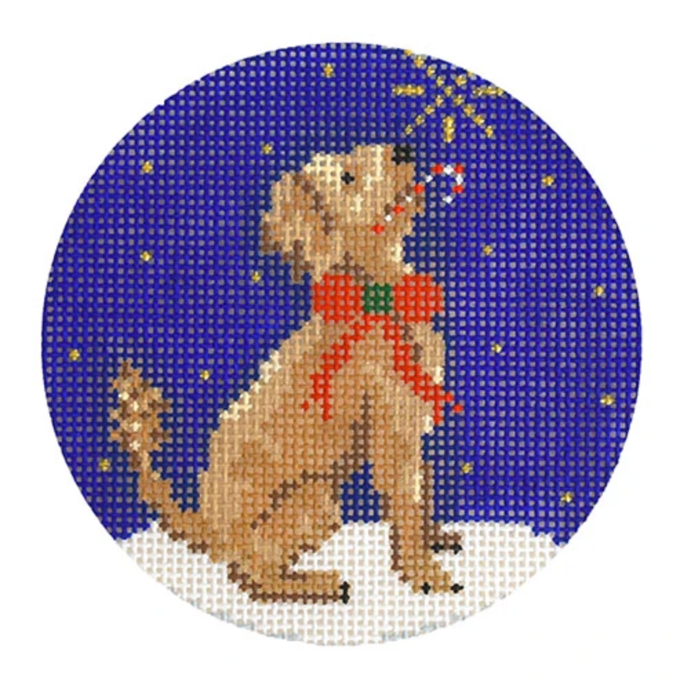 Midnight Goldendoodle Round Needlepoint Canvas - needlepoint