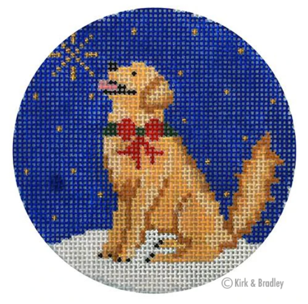 Midnight Golden Retriever Round Needlepoint Canvas - needlepoint