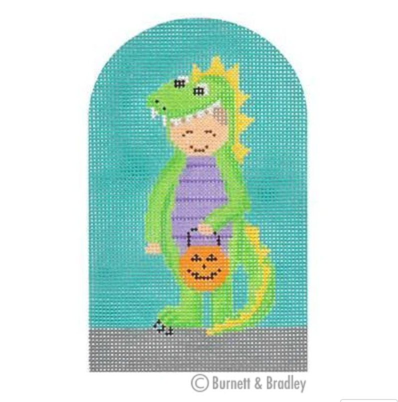 Dinosaur Trick or Treater Canvas - needlepoint