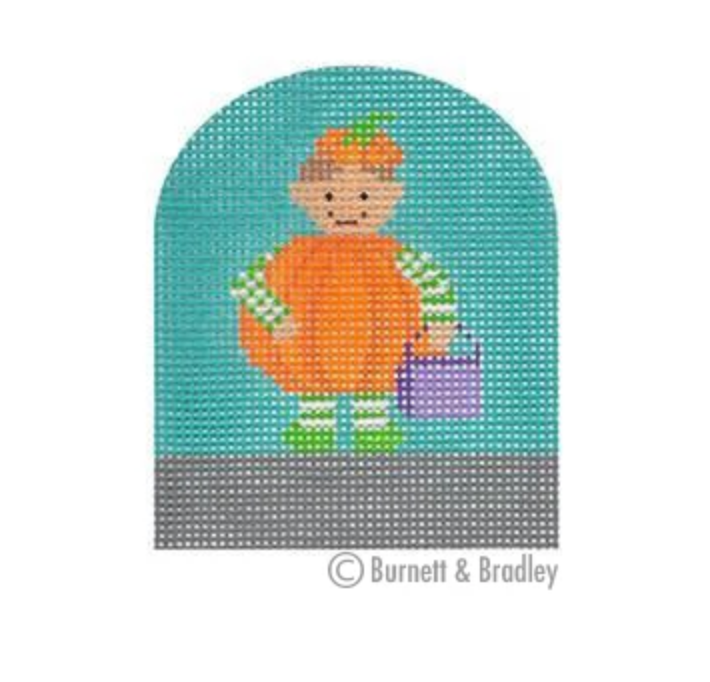 Tiny Pumpkin Trick or Treater Canvas - needlepoint