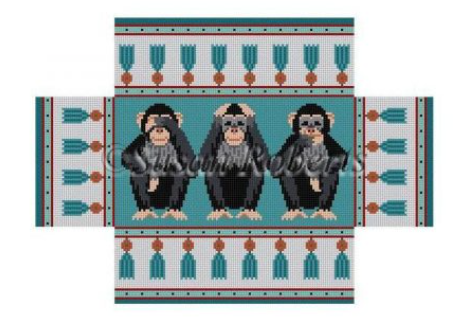 Hear, See, Speak No Evil Brick Cover - needlepoint