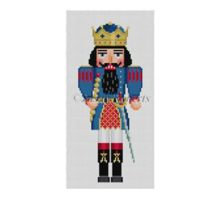 Blue King Nutcracker Canvas - needlepoint