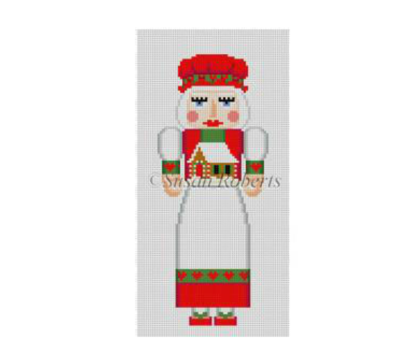 Mrs. Claus with Gingerbread Nutcracker Canvas - needlepoint