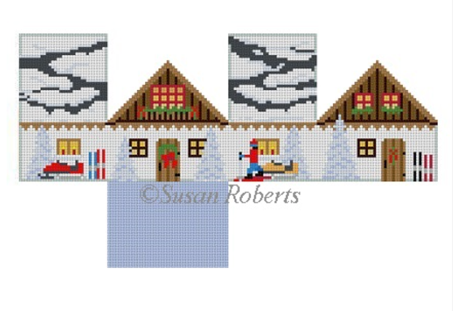 Ski Chalet Mini House Canvas - needlepoint