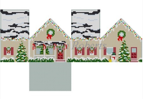 White Christmas House Mini House Canvas - needlepoint