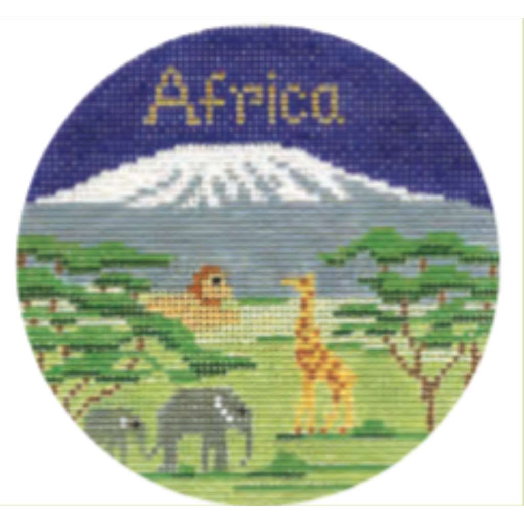 "Africa 4 1/4"" Travel Round Needlepoint Canvas - KC Needlepoint"