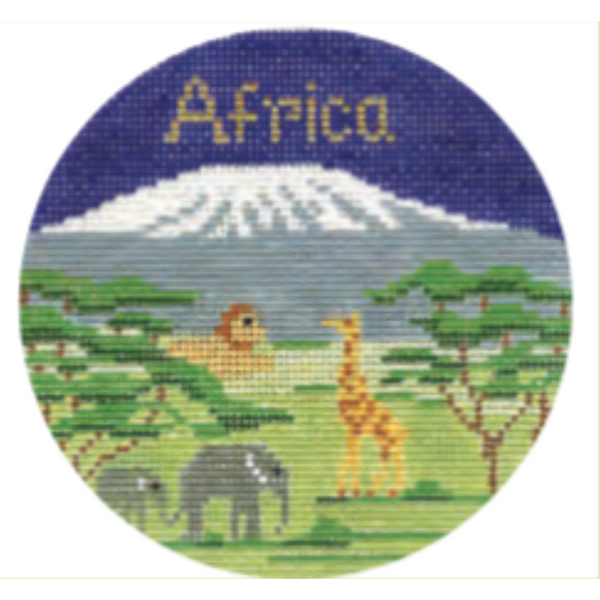 "Africa 4"" Round Needlepoint Canvas - needlepoint"