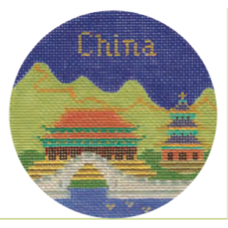 "China 4"" Needlepoint Round Canvas - needlepoint"