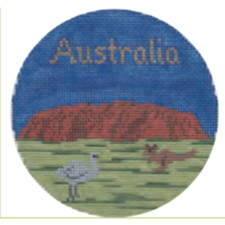 "Australia 4"" Travel Round Needlepoint Canvas-Silver Needle-KC Needlepoint"