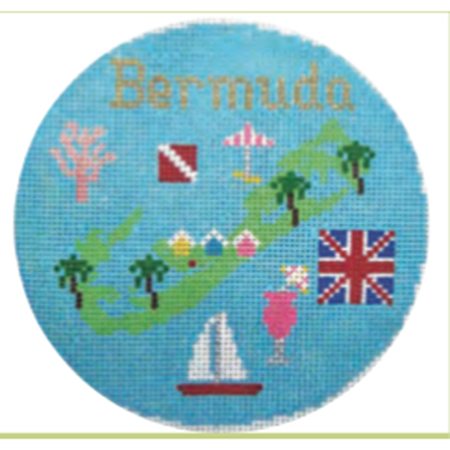 "Bermuda 4 1/4"" Travel Round Needlepoint Canvas - needlepoint"
