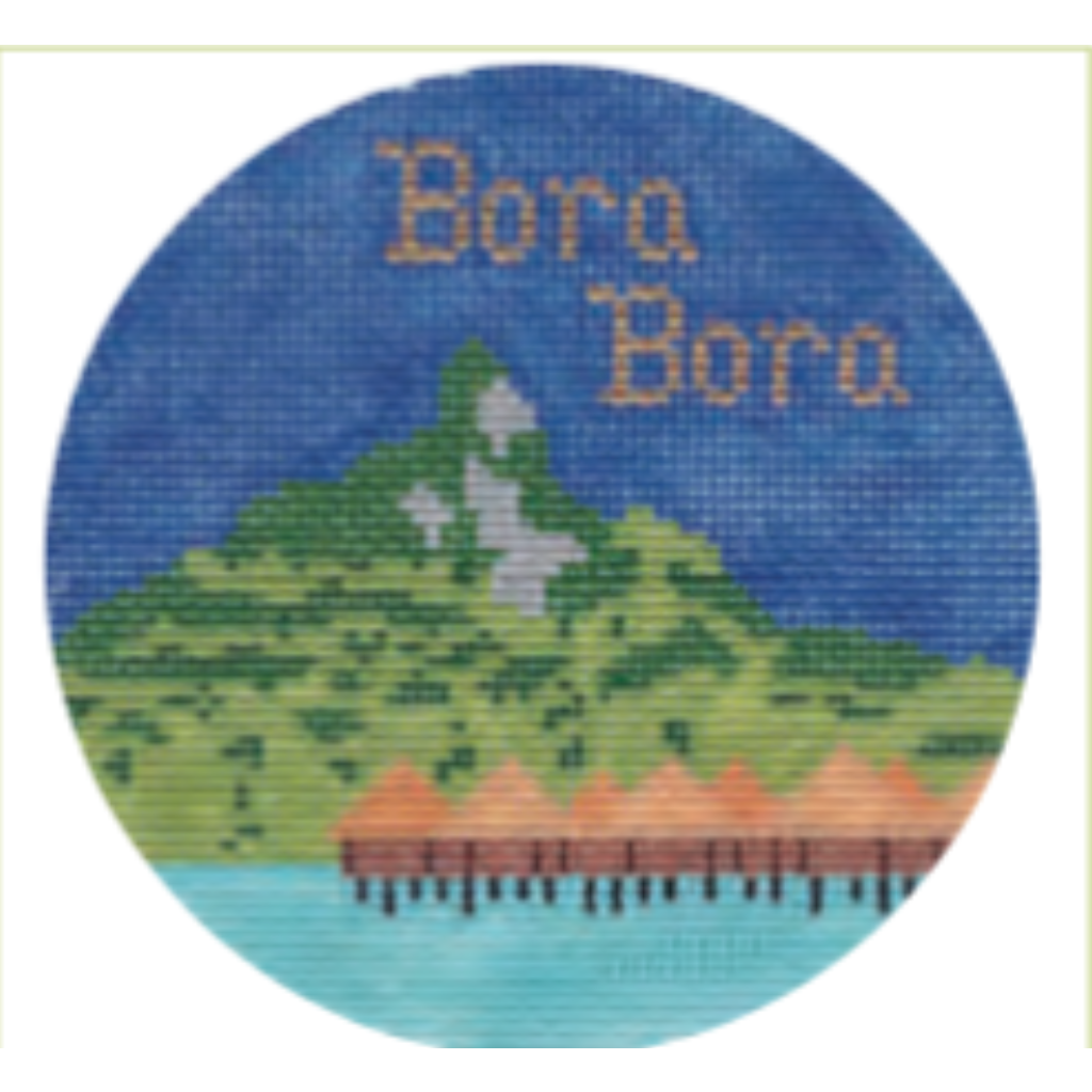 "Bora Bora 4 1/4"" Travel Round Needlepoint Canvas - KC Needlepoint"