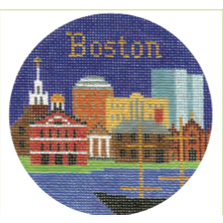"Boston 4 1/4"" Round Needlepoint Canvas - needlepoint"