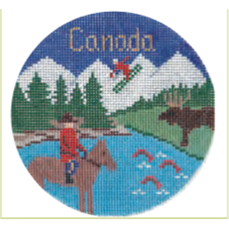 "Canada 4 1/4"" Travel Round Needlepoint Canvas-Needlepoint Canvas-Silver Needle-KC Needlepoint"