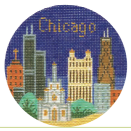 "Chicago 4 1/4"" Round Needlepoint Canvas - needlepoint"
