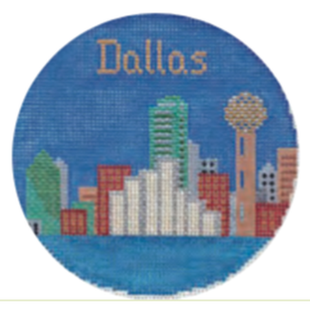 "Dallas 4 1/4"" Round Needlepoint Canvas - needlepoint"
