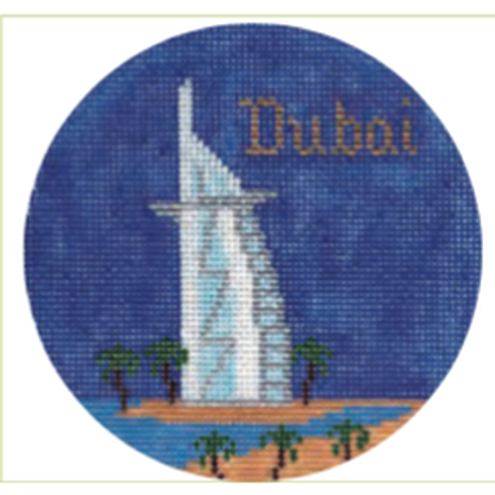 "Dubai 4"" Travel Round Needlepoint Canvas - needlepoint"
