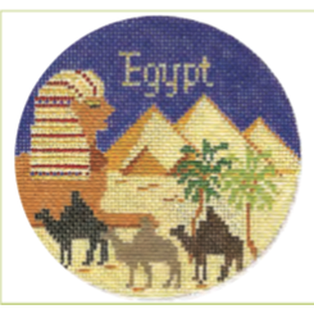 "Egypt 4 1/4"" Travel Round Needlepoint Canvas-Needlepoint Canvas-Silver Needle-KC Needlepoint"