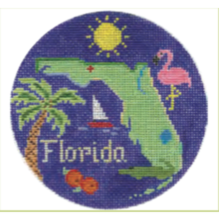 "Florida 4 1/4"" Travel Round Needlepoint Canvas - needlepoint"