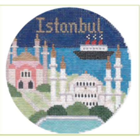 "Istanbul 4"" Travel Round Ornament Canvas-Needlepoint Canvas-Colonial Needle-KC Needlepoint"