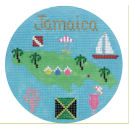 "Jamaica 4 1/4"" Travel Round Needlepoint Canvas-Needlepoint Canvas-Silver Needle-KC Needlepoint"
