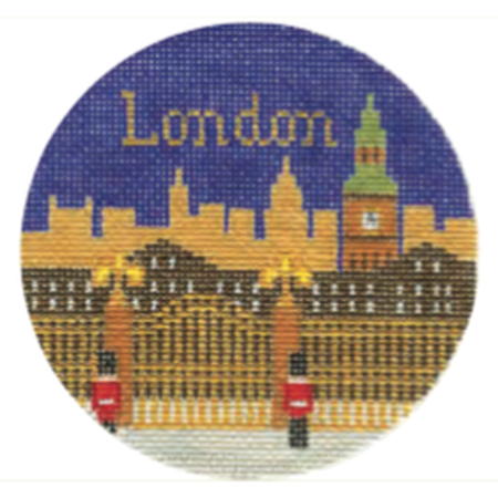 "London 4 1/4"" Round Needlepoint Canvas - needlepoint"