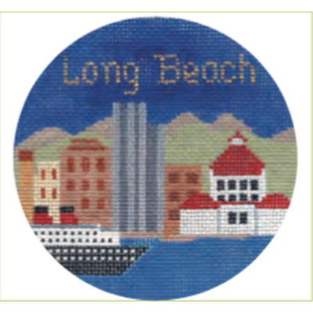 "Long Beach 4 1/4"" Travel Round Needlepoint Canvas-Needlepoint Canvas-Silver Needle-KC Needlepoint"