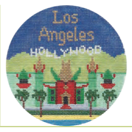 "Los Angeles 4 1/4"" Travel Round Needlepoint Canvas-Needlepoint Canvas-Silver Needle-KC Needlepoint"