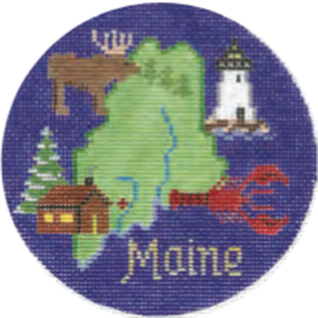 "Maine 4 1/4"" Round Needlepoint Canvas - needlepoint"