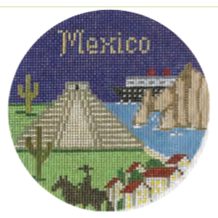 "Mexico 4 1/4"" Travel Round Needlepoint Canvas - needlepoint"