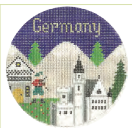 "Germany 4 1/4"" Travel Round Needlepoint Canvas - needlepoint"