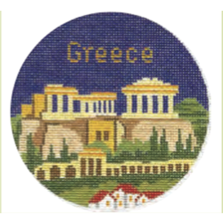 "Greece 4 1/4"" Travel Round Needlepoint Canvas-Needlepoint Canvas-Silver Needle-KC Needlepoint"
