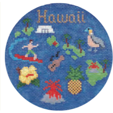 "Hawaii 4 1/4"" Travel Round Needlepoint Canvas - KC Needlepoint"