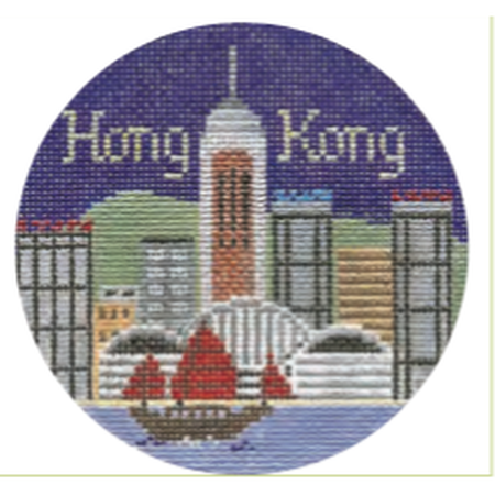 "Hong Kong 4 1/4"" Travel Round Needlepoint Canvas-Needlepoint Canvas-Silver Needle-KC Needlepoint"