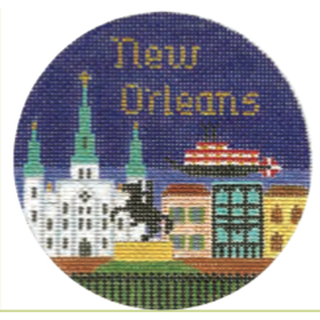 "New Orleans 4 1/4"" Travel Round Needlepoint Canvas - needlepoint"