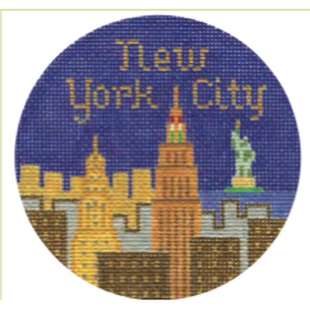 "New York City 4 1/4"" Travel Round Needlepoint Canvas - needlepoint"