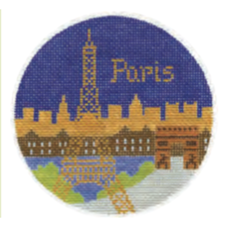 "Paris 4"" Travel Round Ornament Canvas-Needlepoint Canvas-Silver Needle-KC Needlepoint"