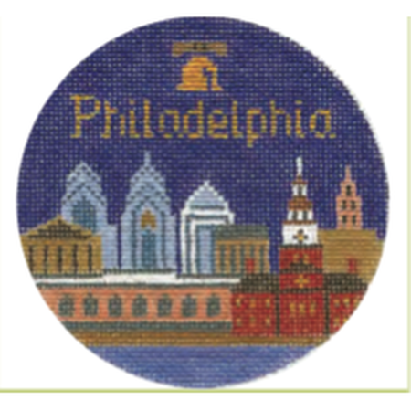 "Philadelphia 4 1/4"" Travel Round Needlepoint Canvas - needlepoint"