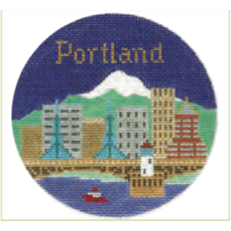 "Portland 4 1/4"" Travel Round Needlepoint Canvas - needlepoint"