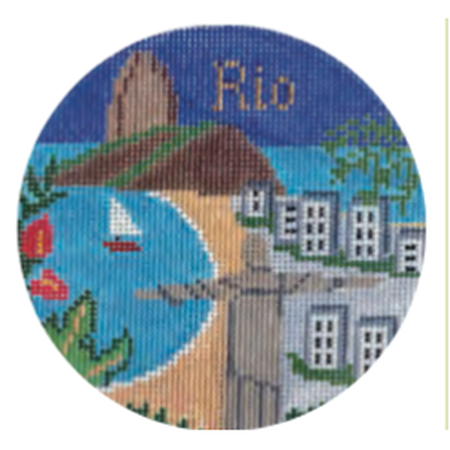 "Rio 4 1/4"" Travel Round Needlepoint Canvas - needlepoint"