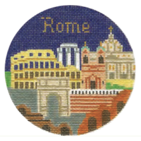 "Rome 4 1/4"" Travel Round Canvas-Needlepoint Canvas-Silver Needle-KC Needlepoint"