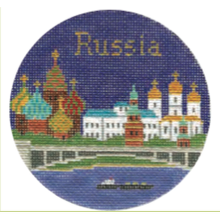 "Russia 4 1/4"" Travel Round Canvas-Needlepoint Canvas-Silver Needle-KC Needlepoint"