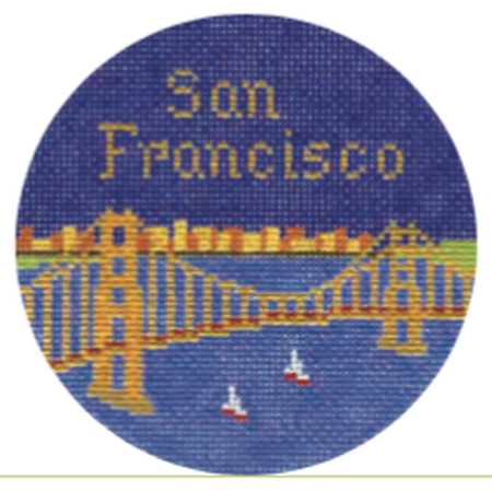"San Francisco 4"" Travel Round Ornament Canvas-Needlepoint Canvas-Silver Needle-KC Needlepoint"