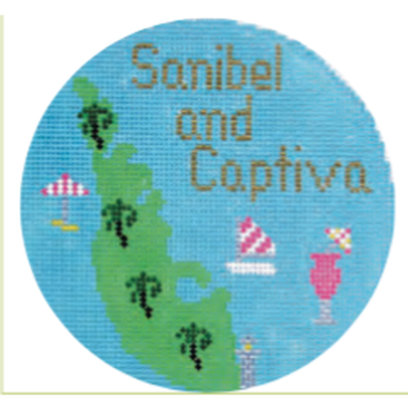 "Sanibel & Captiva 4 1/4"" Travel Round Needlepoint Canvas - needlepoint"