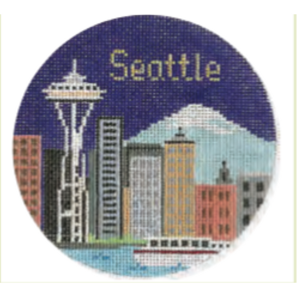 "Seattle 4 1/4"" Round Needlepoint Canvas - needlepoint"