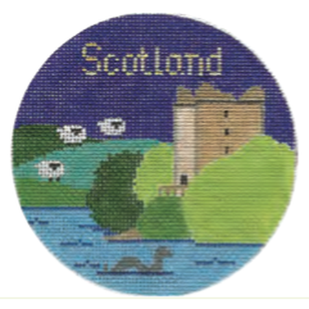 "Scotland 4 1/4"" Travel Round Needlepoint Canvas-Needlepoint Canvas-Silver Needle-KC Needlepoint"