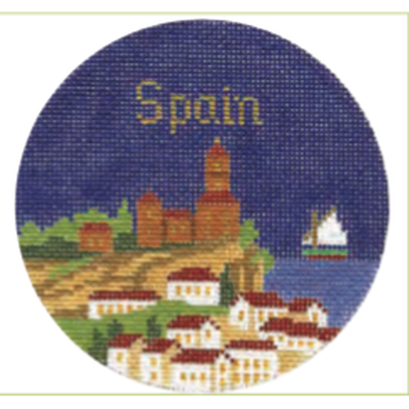 "Spain 4 1/4"" Travel Round Needlepoint Canvas-Needlepoint Canvas-Silver Needle-KC Needlepoint"